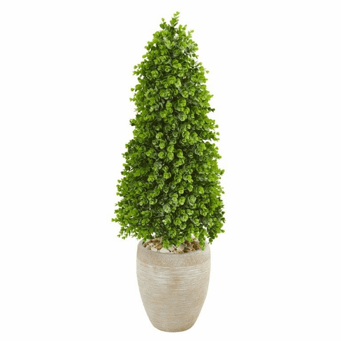 3.5' Eucalyptus Topiary Artificial Tree in Sand Colored Planter (Indoor/Outdoor)