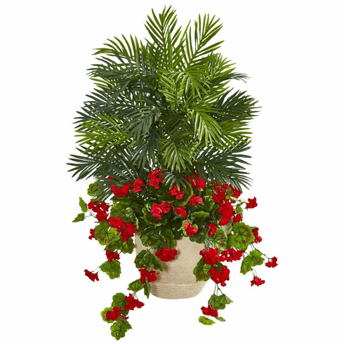 3.5' Geranium & Areca Palm Artificial Plant