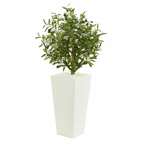 3.5' Olive Artificial Tree in White Planter