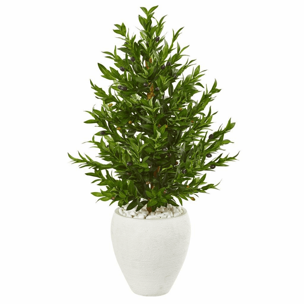 3.5� Olive Cone Topiary Artificial Tree in White Planter UV Resistant (Indoor/Outdoor)