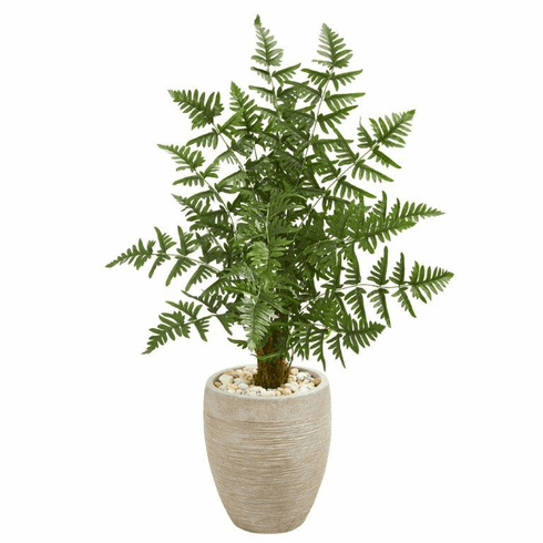 3.5' Ruffle Fern Palm Artificial Tree in Sand Colored Planter