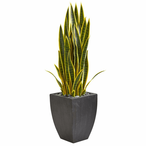 3.5' Sansevieria Artificial Plant in Black Planter