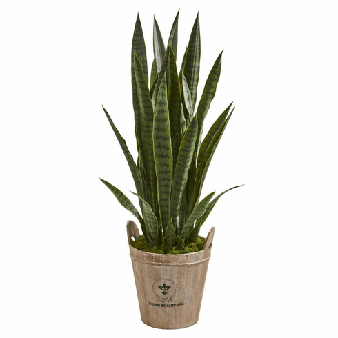 3.5' Sansevieria Artificial Plant in Farmhouse Planter