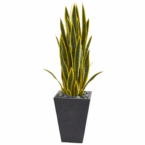 3.5' Sansevieria Artificial Plant in Slate Planter