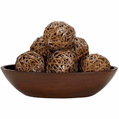 "3.75"" Decorative Woven Balls (Set of 6)"