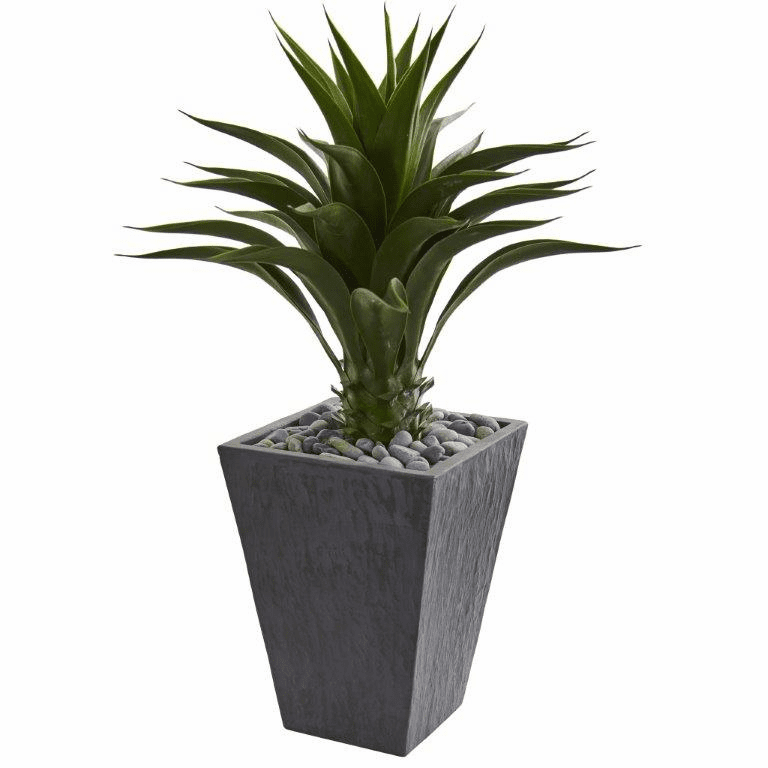 3' Agave Artificial Plant in Slate Finished Planter
