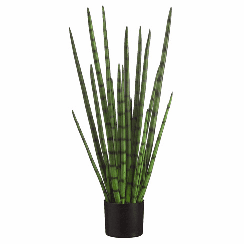3' Artificial Snake Grass in Black Plastic Pot - Set of 2