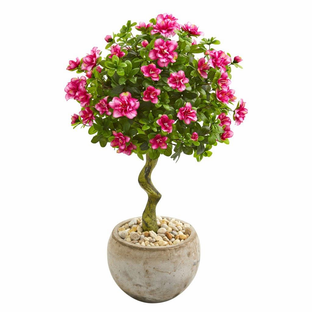 3� Azalea Artificial Topiary Tree in Bowl Planter