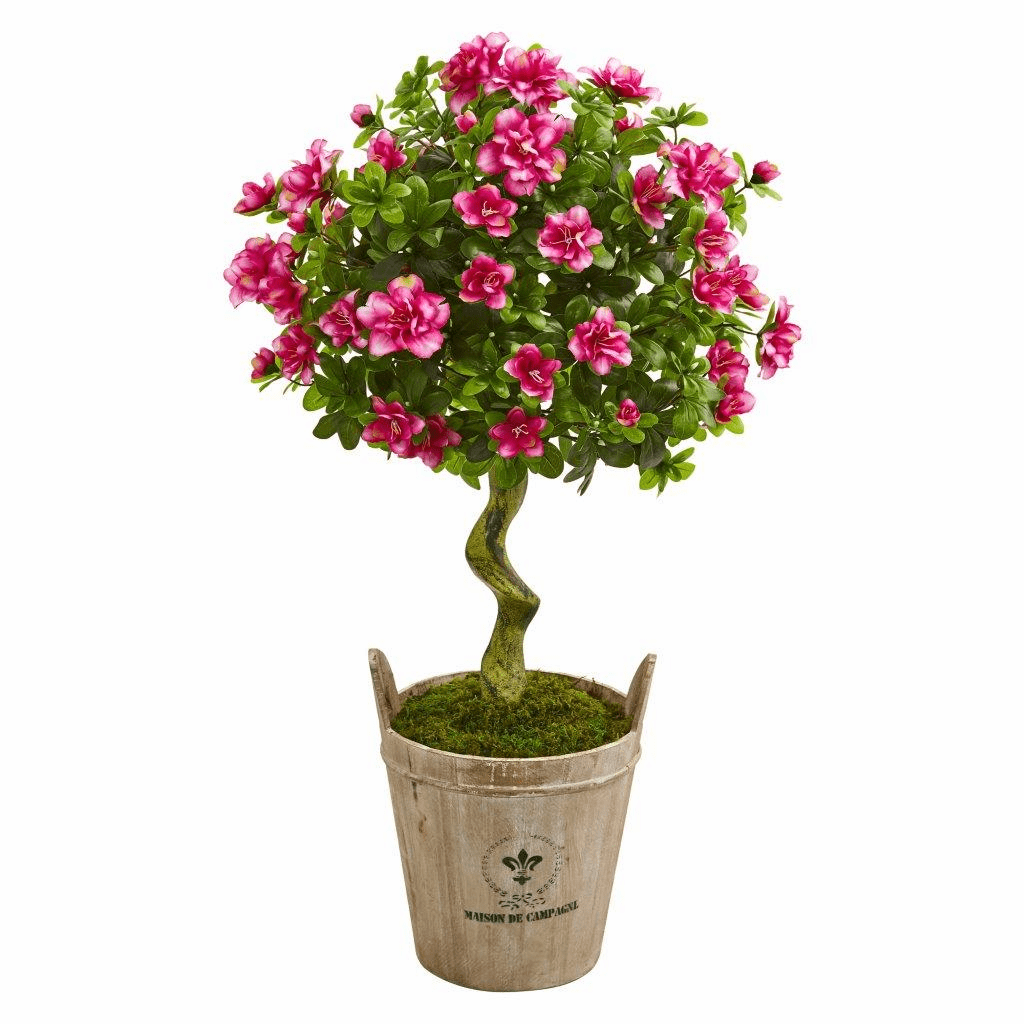 3� Azalea Artificial Topiary Tree in Farmhouse Planter