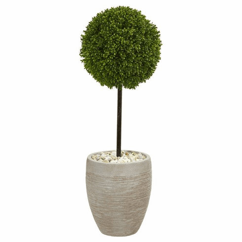 3' Boxwood Ball Topiary Artificial Tree in Oval Planter UV Resistant (Indoor/Outdoor)