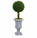3� Braided Boxwood Topiary Artificial Tree in Gray Urn UV Resistant (Indoor/Outdoor)