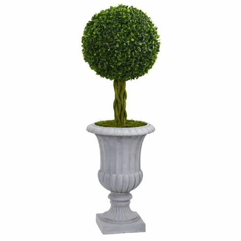 3' Braided Boxwood Topiary Artificial Tree in Gray Urn UV Resistant (Indoor/Outdoor)