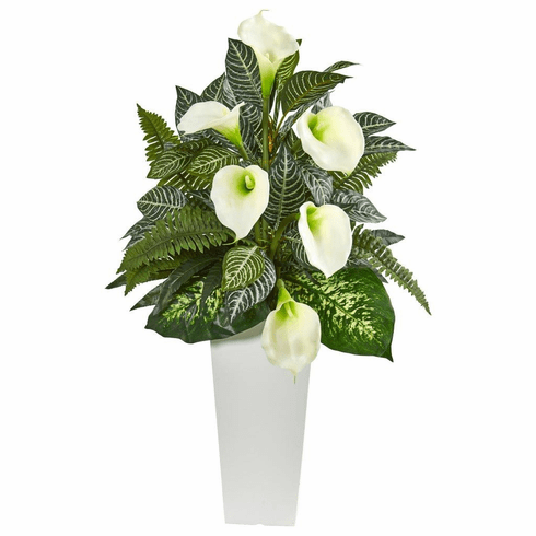 3' Calla Lily and Mixed Greens Artificial Plant in White Vase