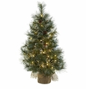 3� Christmas Tree w/Clear Lights, Frosted Tips, Pine Cones & Burlap Bag