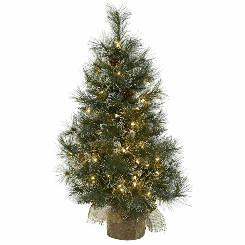 3' Christmas Tree w/Clear Lights, Frosted Tips, Pine Cones & Burlap Bag