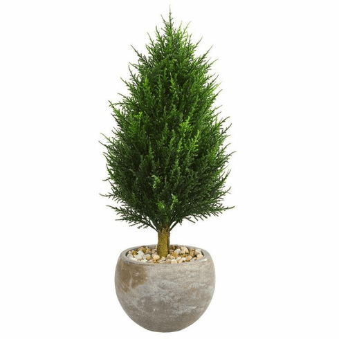 3' Cypress Cone Artificial Tree in Sand Colored Bowl UV Resistant (Indoor/Outdoor)