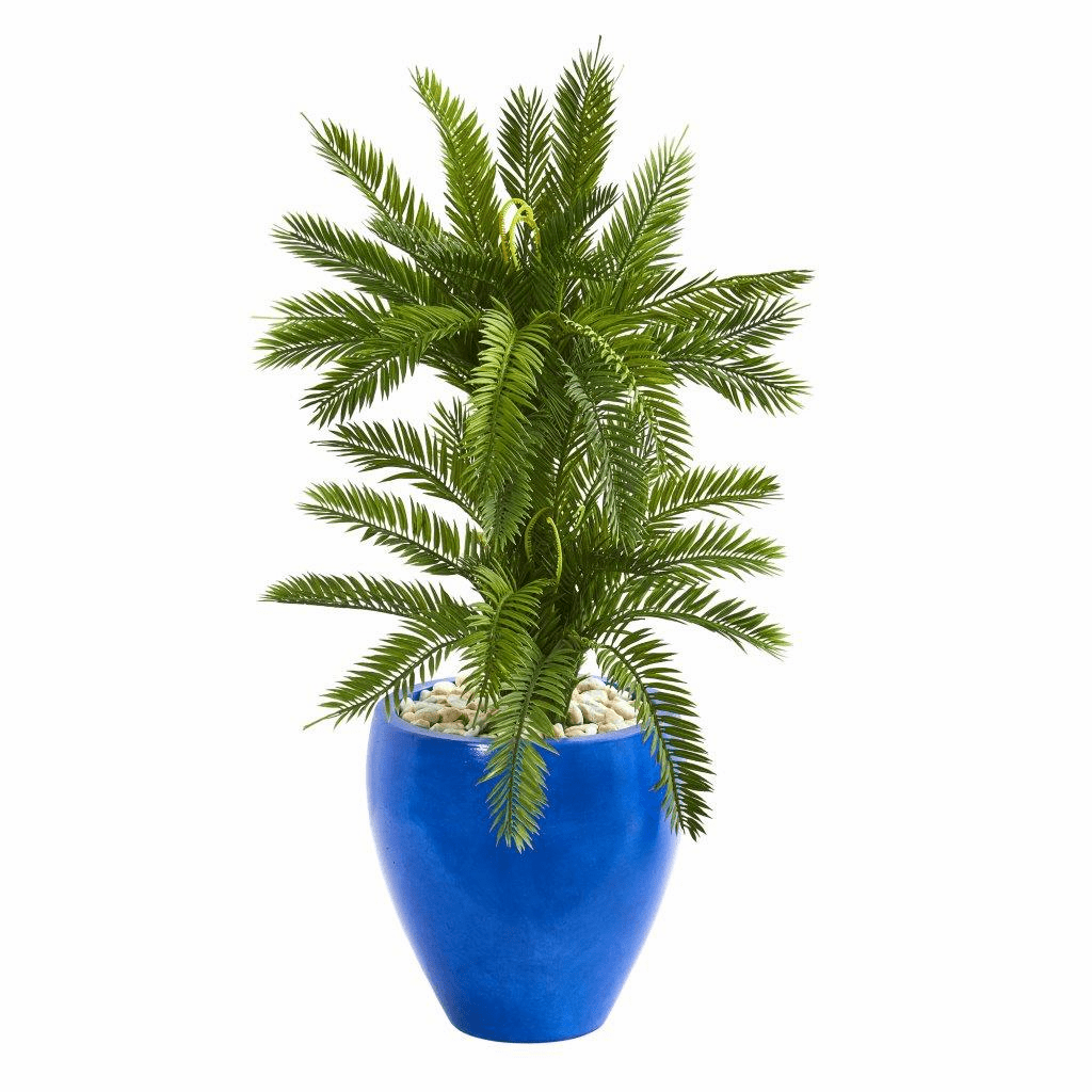 3� Double Cycas Artificial Plant in Blue Planter