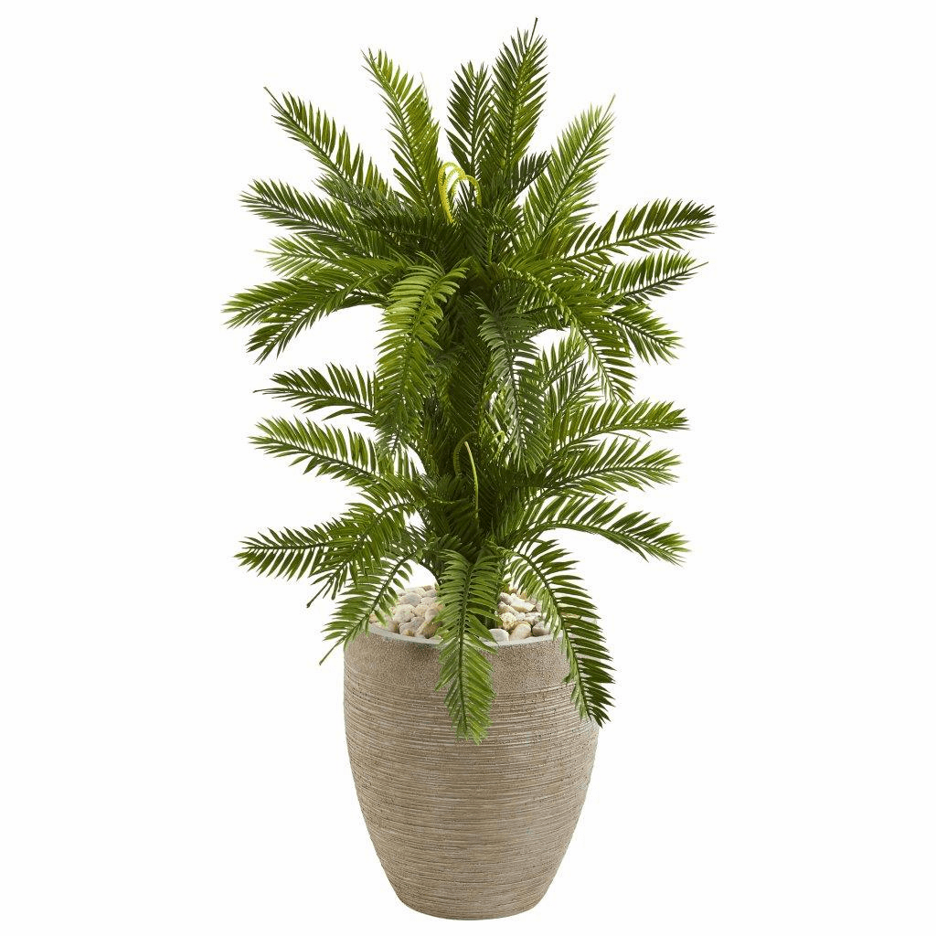 3� Double Cycas Artificial Plant in Sand Colored Planter