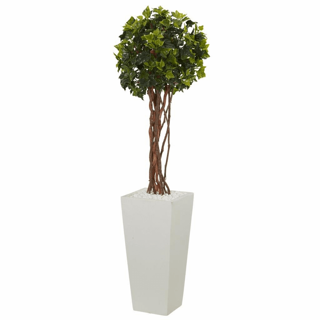 3� English Ivy Artificial Tree in White Tower Planter UV Resistant (Indoor/Outdoor)