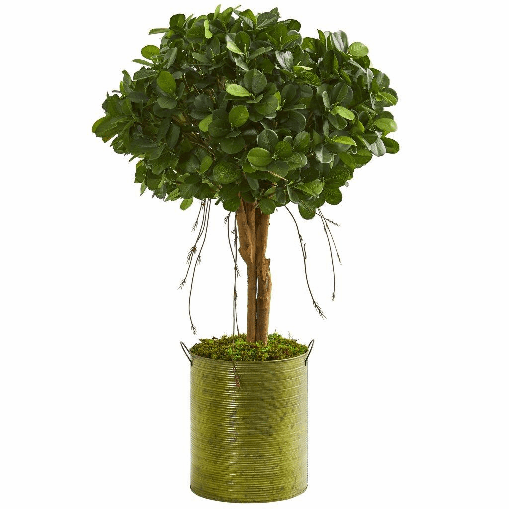 3� Ficus Artificial Tree in Green Metal Planter