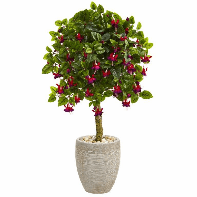 3� Fuschia Artificial Tree in Sand Colored Oval Planter