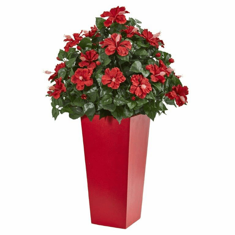 3� Hibiscus Artificial Plant in Red Planter