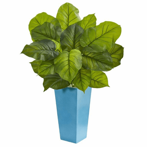 3' Large Leaf Philodendron Artificial Plant in Turquoise Planter (Real Touch)