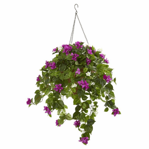 3' Mixed Stephanotis and Bougainvillea Artificial Plant in Hanging Cone