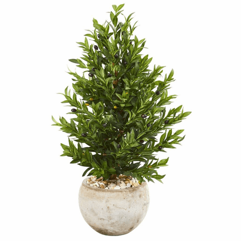 3' Olive Cone Topiary Artificial Tree in Sand Stone Planter UV Resistant (Indoor/Outdoor)