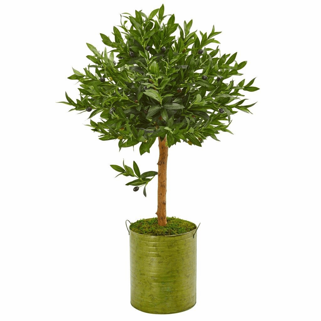 3� Olive Topiary Artificial Tree in Green Planter UV Resistant (Indoor/Outdoor)