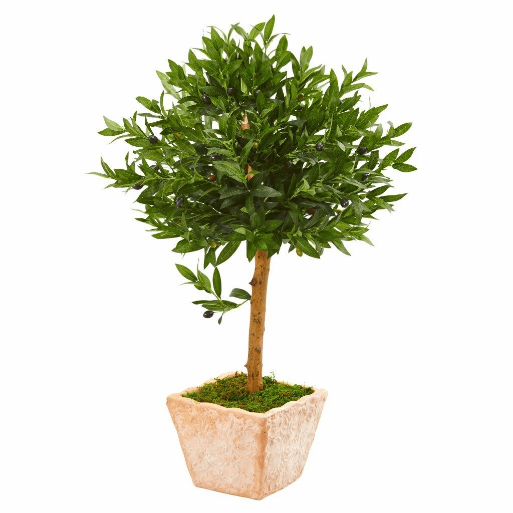 3� Olive Topiary Artificial Tree in Terra Cotta Planter UV Resistant (Indoor/Outdoor)