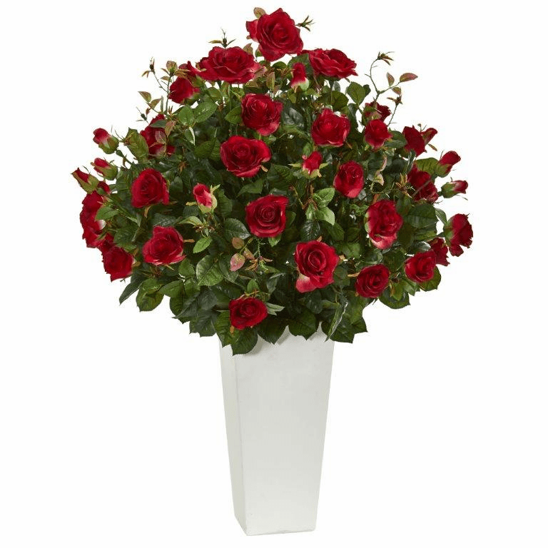3� Rose Bush Artificial Plant in White Tower Vase