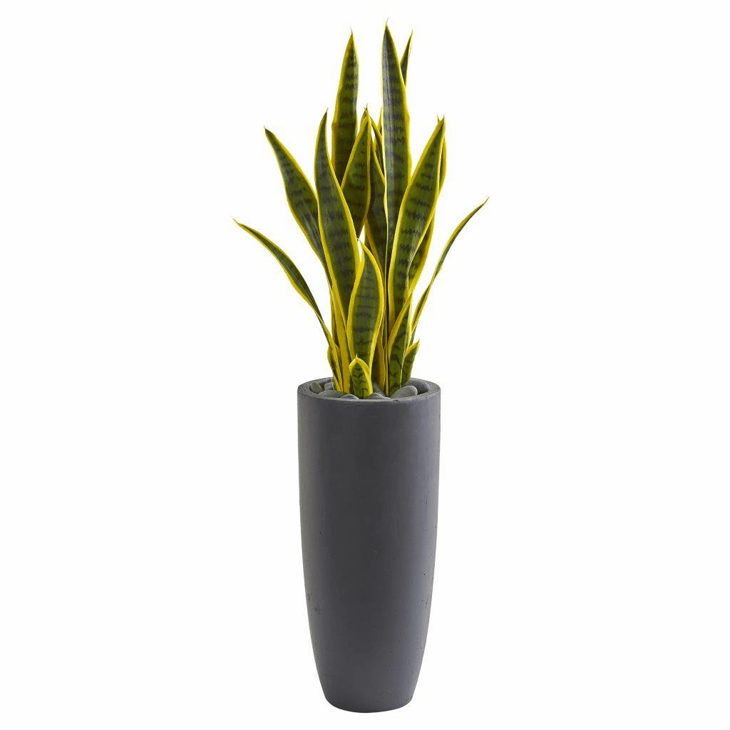 3� Sansevieria Artificial Plant in Gray Bullet Planter