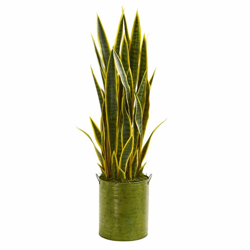 3' Sansevieria Artificial Plant in Green Metal Planter