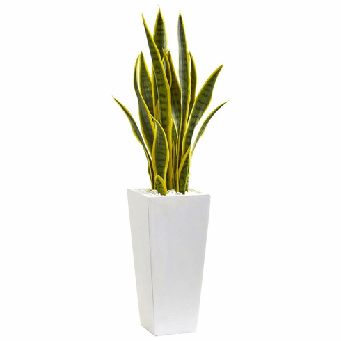 3' Sansevieria Artificial Plant in White Planter
