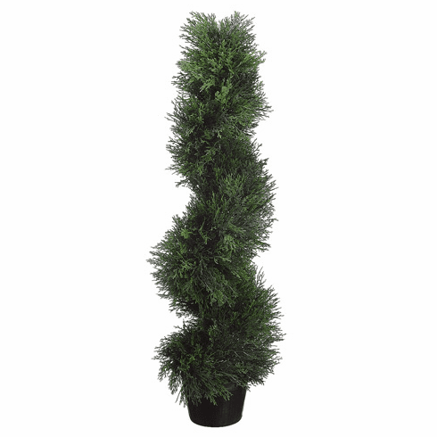 3' Spiral Cedar Artificial Topiaries - 1 Artificial Topiary