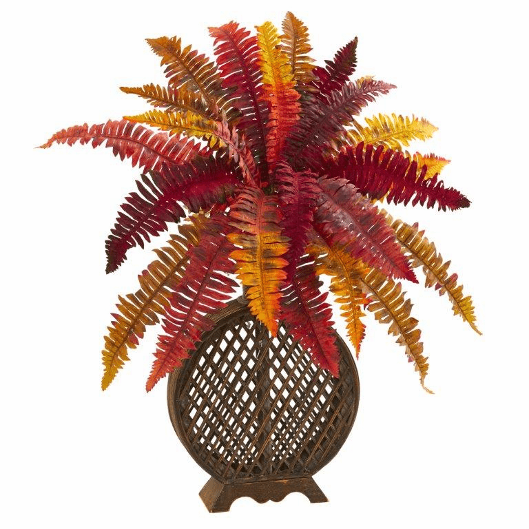30� Autumn Boston Fern Artificial Plant in Weave Planter
