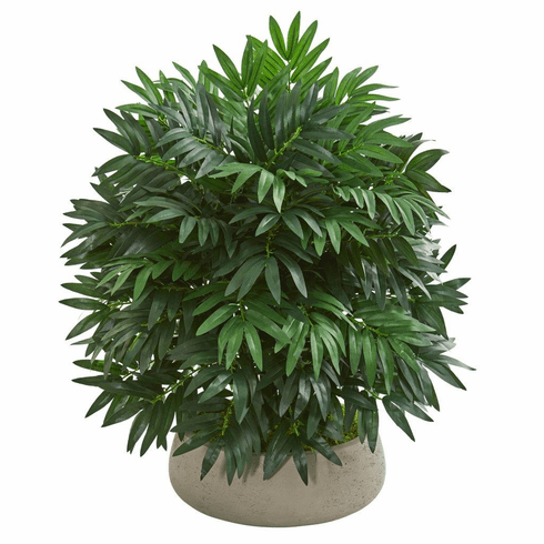 """30"""" Bamboo Palm Artificial Plant in Stone Planter"""