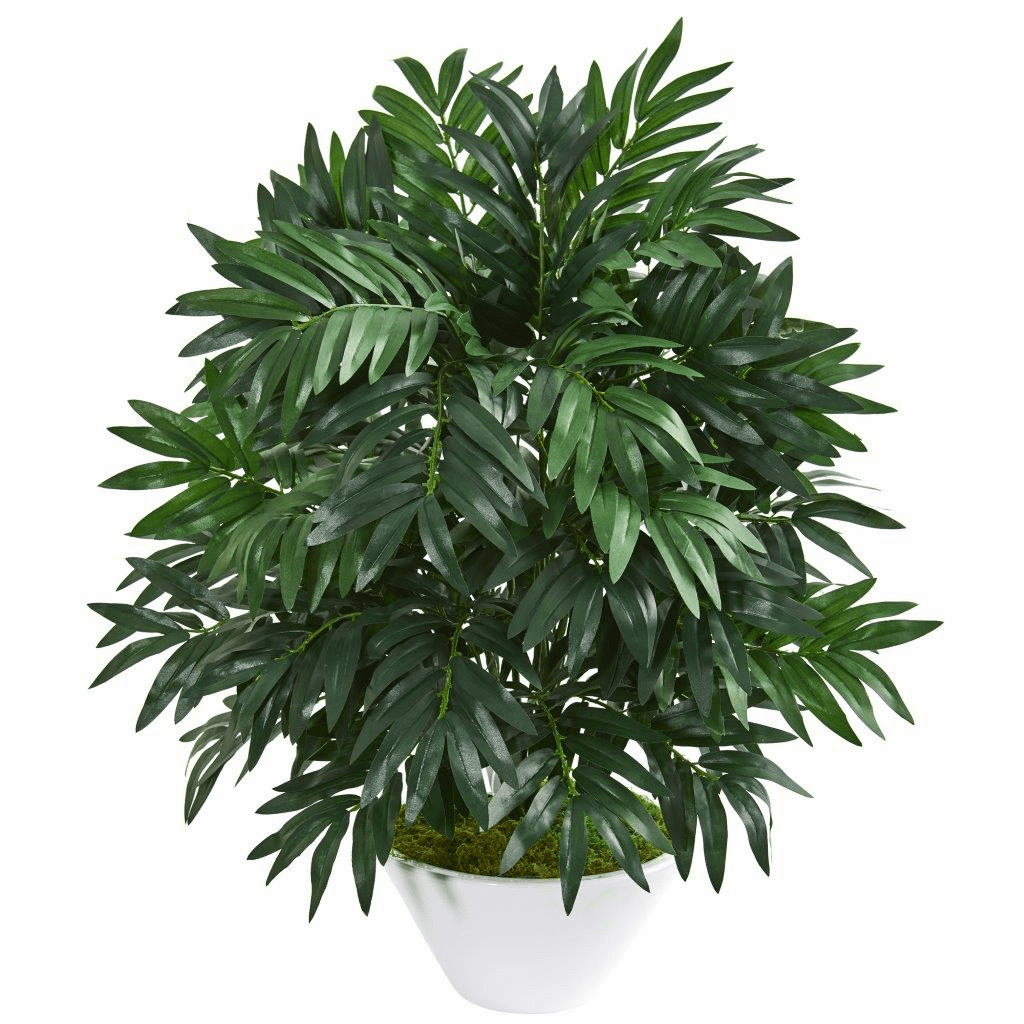 30� Bamboo Palm Artificial Plant in White Planter