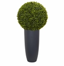 30� Boxwood Artificial Topiary Plant in Gray Cylinder Planter (Indoor/Outdoor)