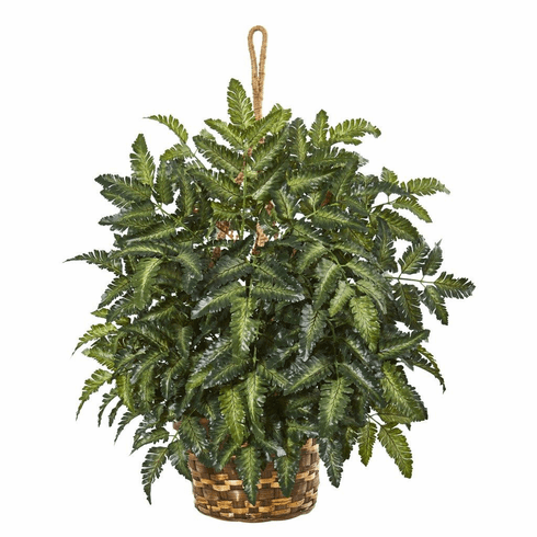 "30"" Bracken Fern Artificial Plant in Hanging Basket"