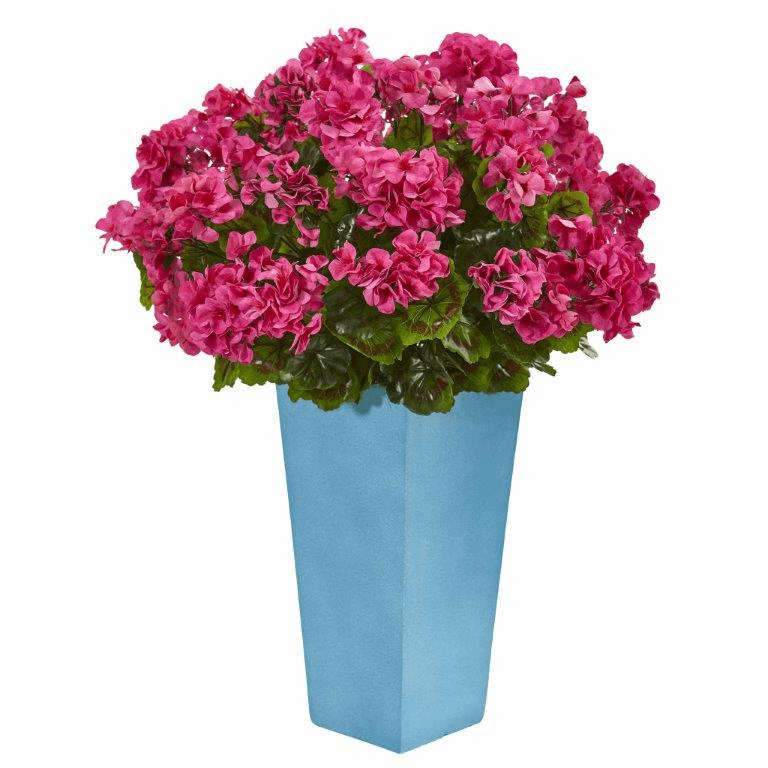 "30"" Geranium Artificial Plant in Turquoise Planter UV Resistant (Indoor/Outdoor) - Beauty"