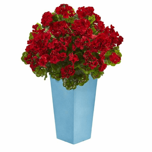 "30"" Geranium Artificial Plant in Turquoise Planter UV Resistant (Indoor/Outdoor) - Red"
