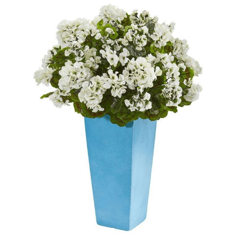 "30"" Geranium Artificial Plant in Turquoise Planter UV Resistant (Indoor/Outdoor) - White"