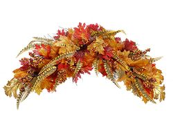 """30"""" Glittered Artificial Maple and Oak leave with Berries Twig Swag - Set of 2"""