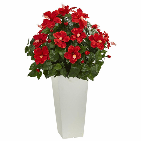 """30"""" Hibiscus Artificial Plant in White Tower Planter"""