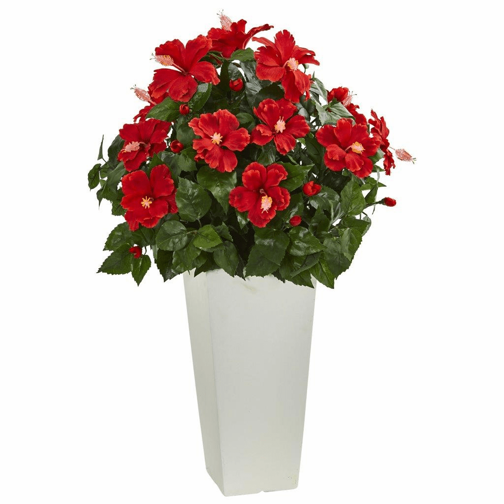 "30"" Hibiscus Artificial Plant in White Tower Planter"