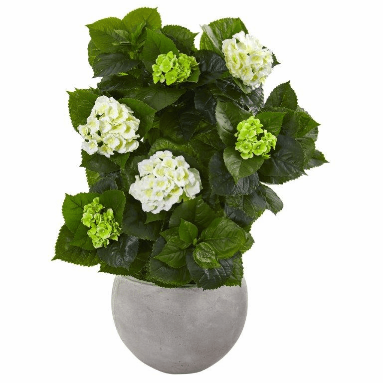 30� Hydrangea Artificial Plant in Sand Stone Bowl