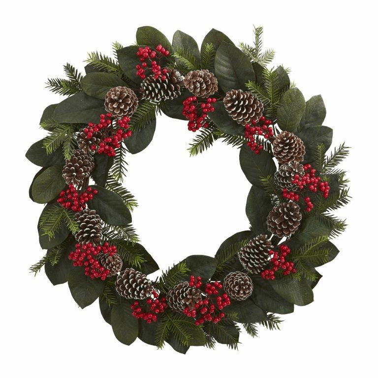 30� Magnolia Leaf, Berry, Pine and Pine Cone Artificial Wreath