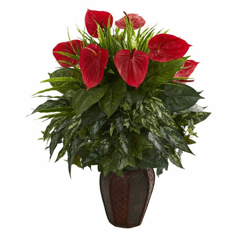 "30"" Mixed Anthurium Artificial Plant in Decorative Planter - Green"